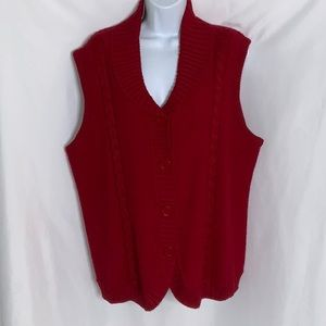 Alfred Dunner Wool Blend Button Up Sweater Vest